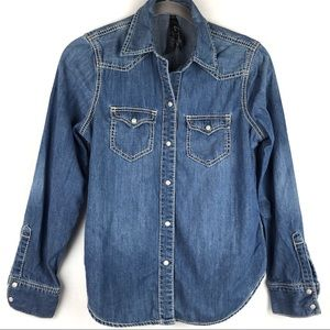 Seven7 | Women's Denim Button Down Shirt Size S